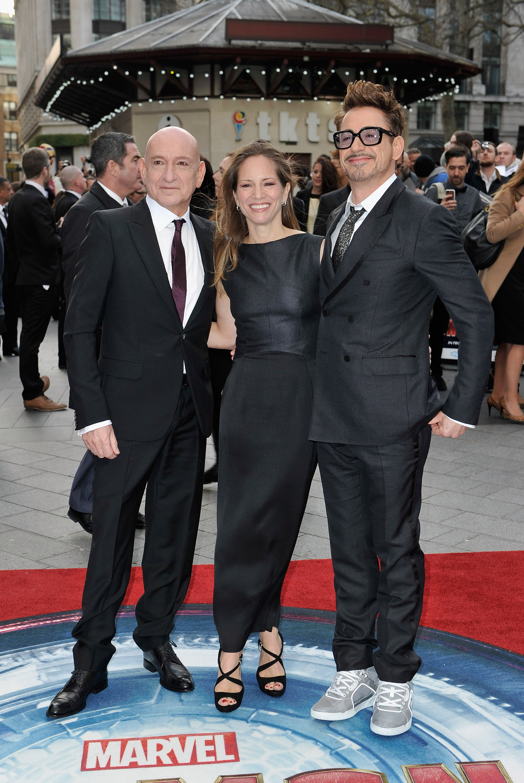 Sir Ben Kingsley, Susan Downey and Robert Downey, Jr.