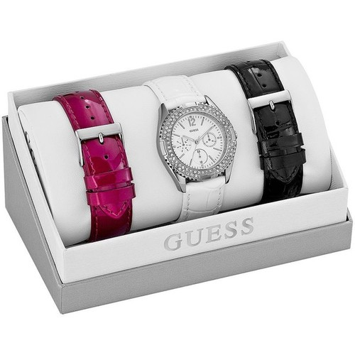 GUESS Silver-Tone Feminine Classic Hi-Energy Watch Set