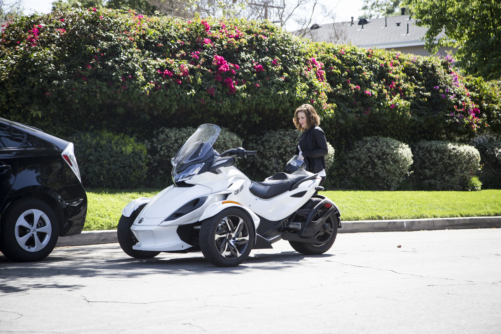 Alyssa Milano getting ready to grab a ride on her husband David Bulgliari's Can-Am Spyder in L.A.  Photo Credit: Michael Simon