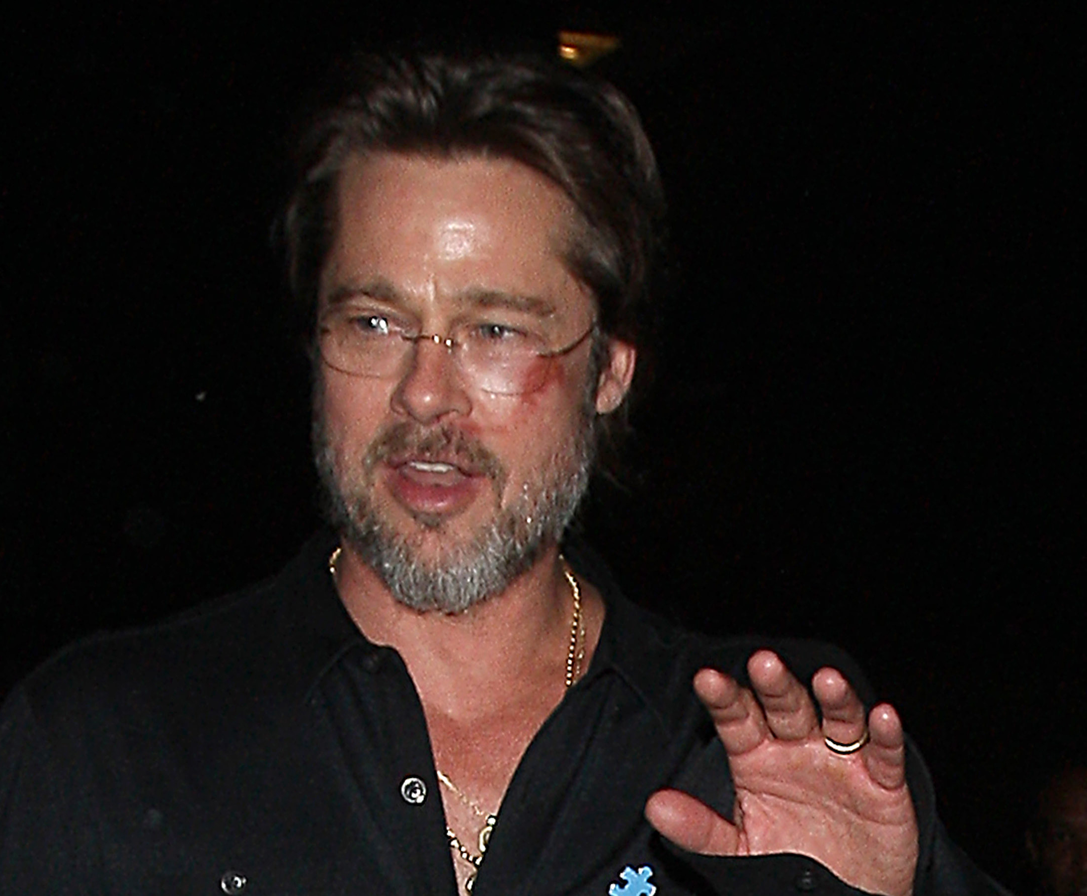 Brad Pitt Goes to The Pantages Theatre With a Bruised Face