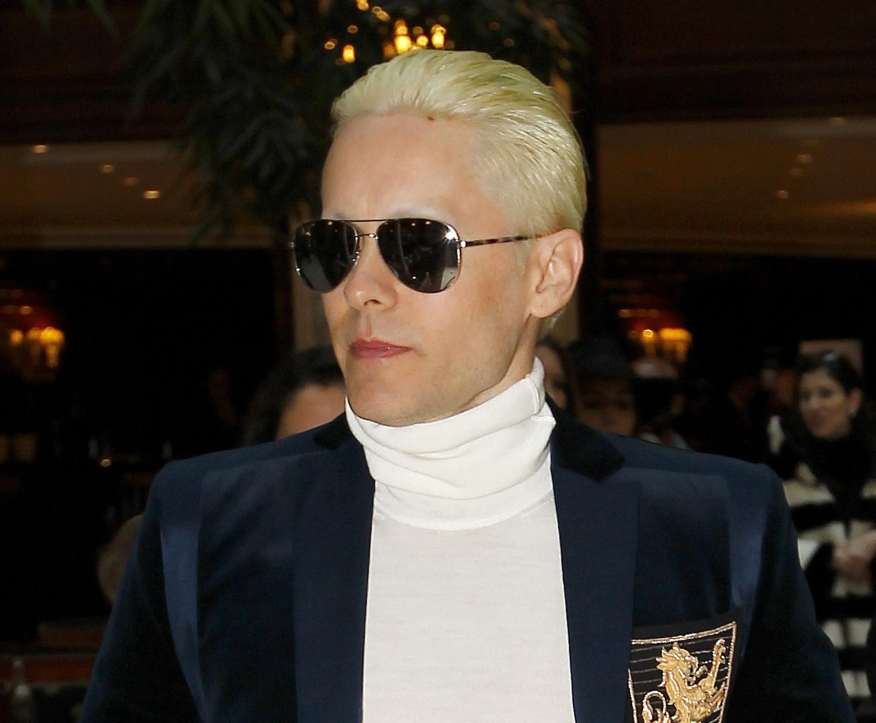 Jared Leto attends Balmain runway in Paris during fall winter Paris fashion week