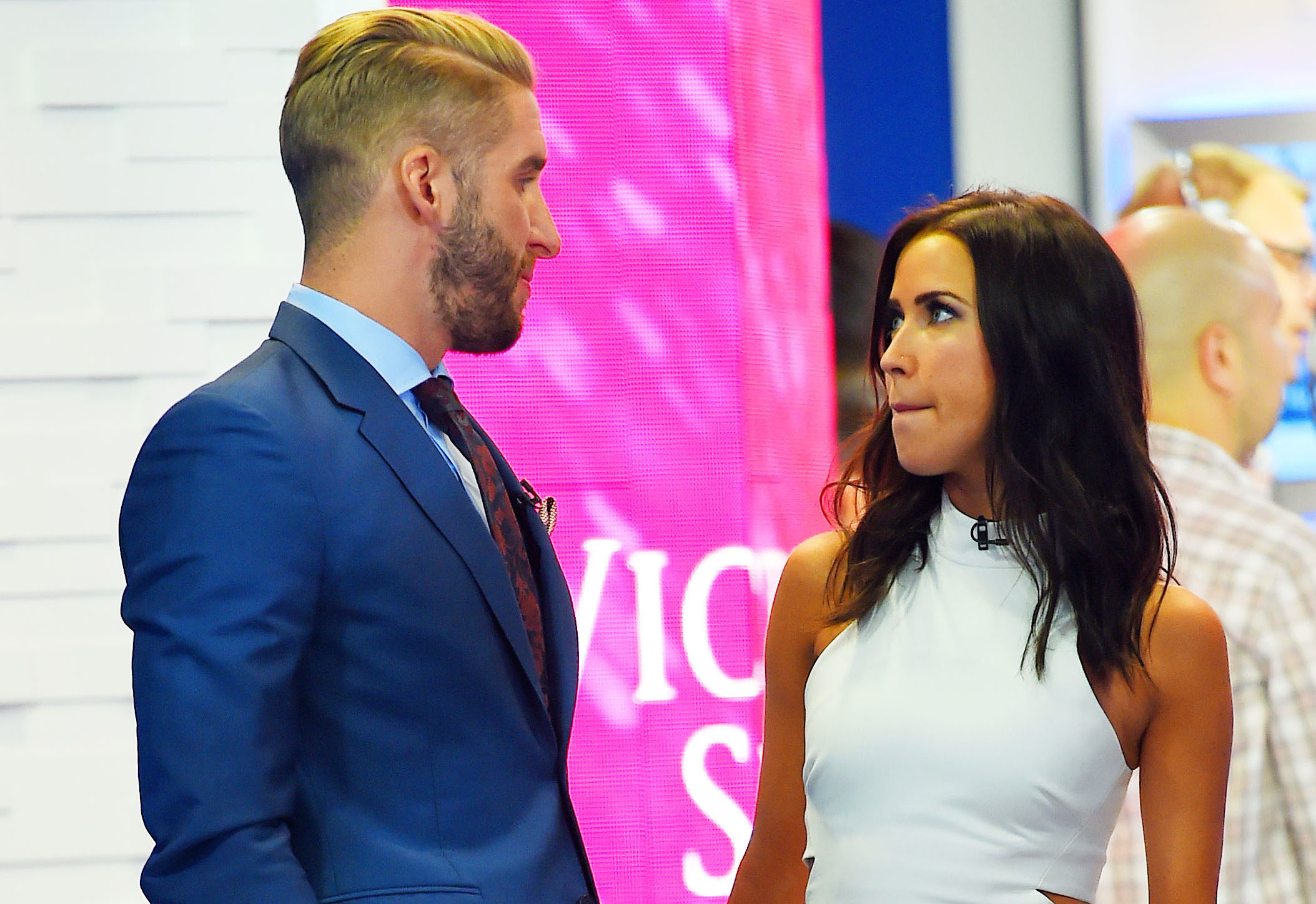 """Shawn Booth and Kaitlyn Bristowe show some PDA as they stoped by the """"Good Morning America"""" yesterday in Times Square, NYC"""