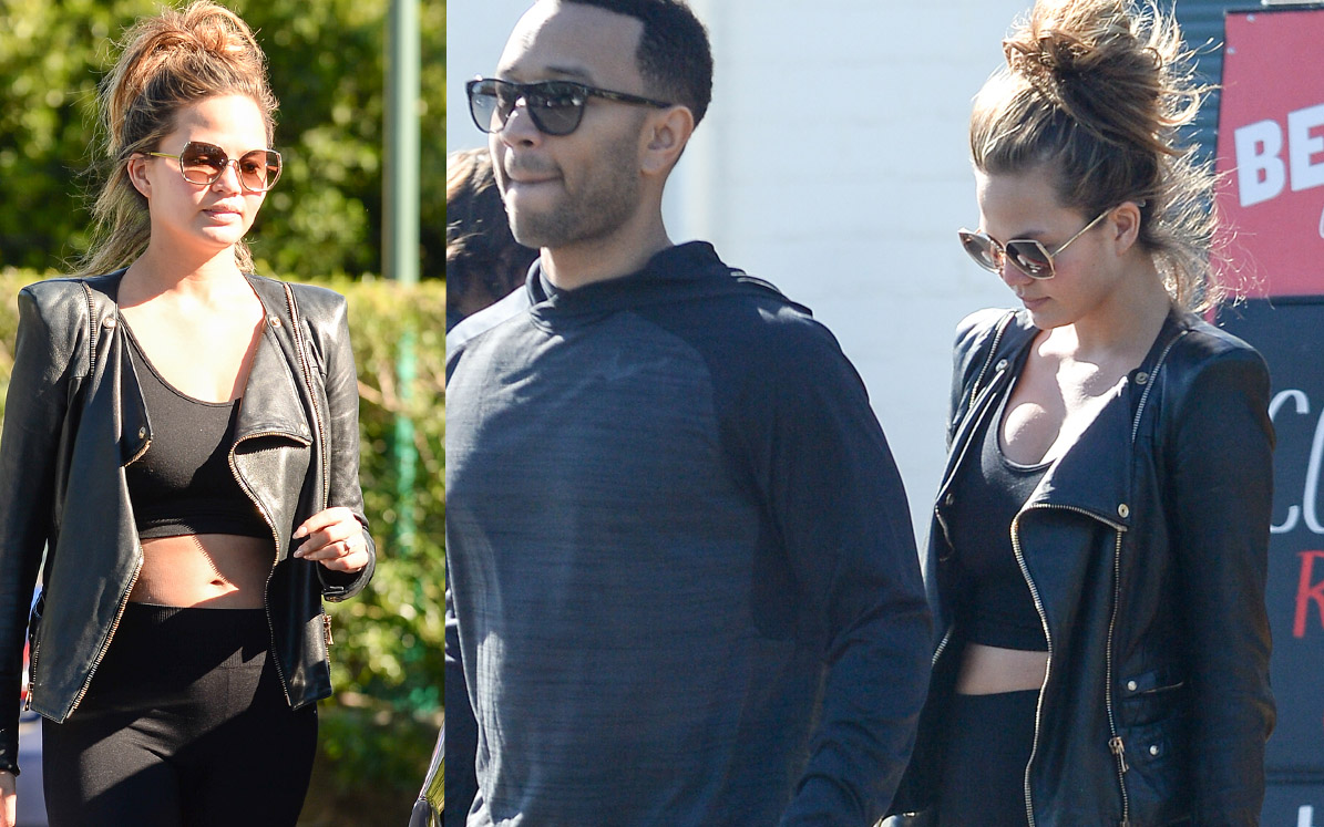 Chrissy Teigen and John Legend shop at Bristol Farms in Beverly Hills