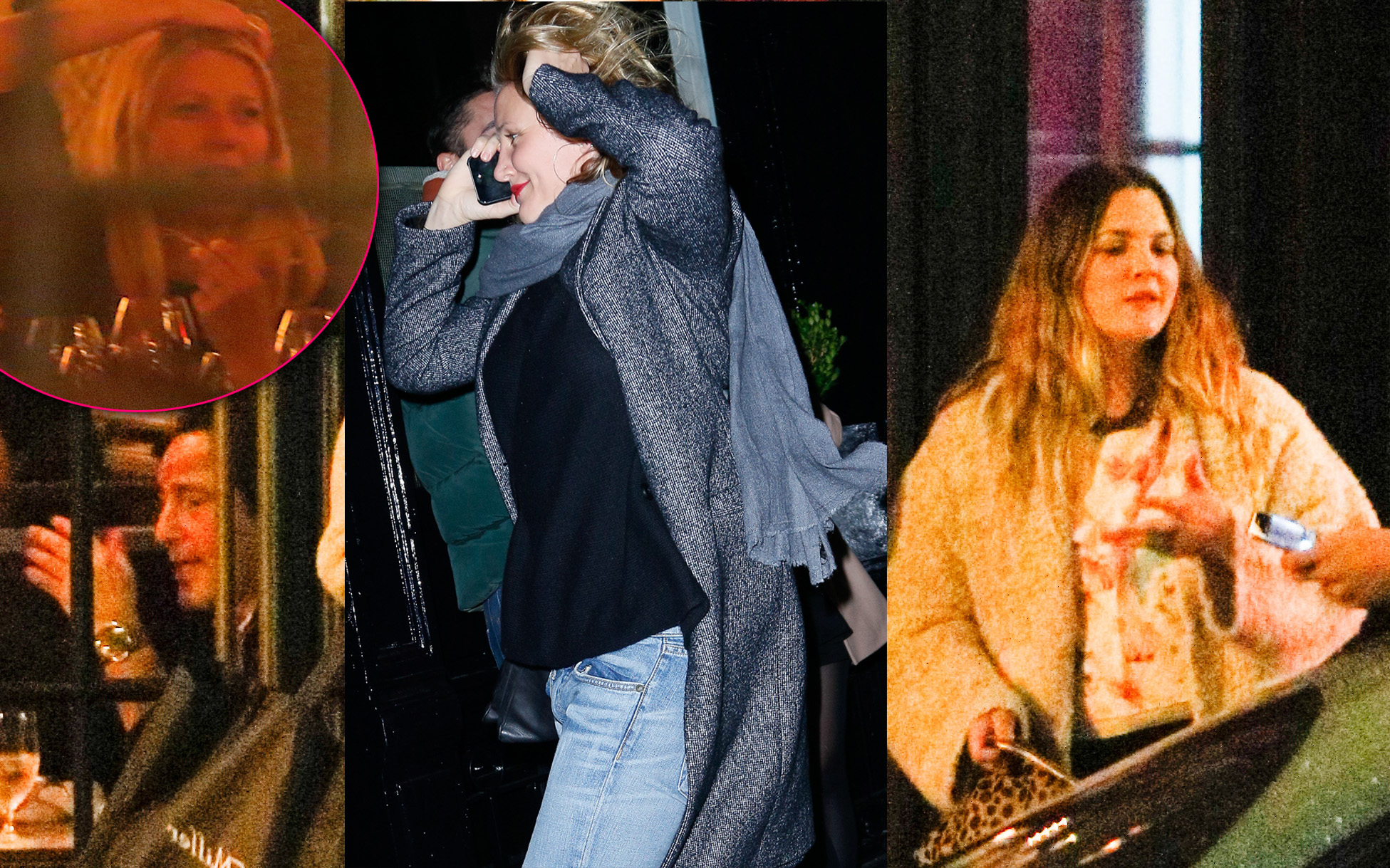 EXCLUSIVE: Gwyneth Paltrow, Cameron Diaz and Drew Barrymore are seen out and about for a late night dinner.