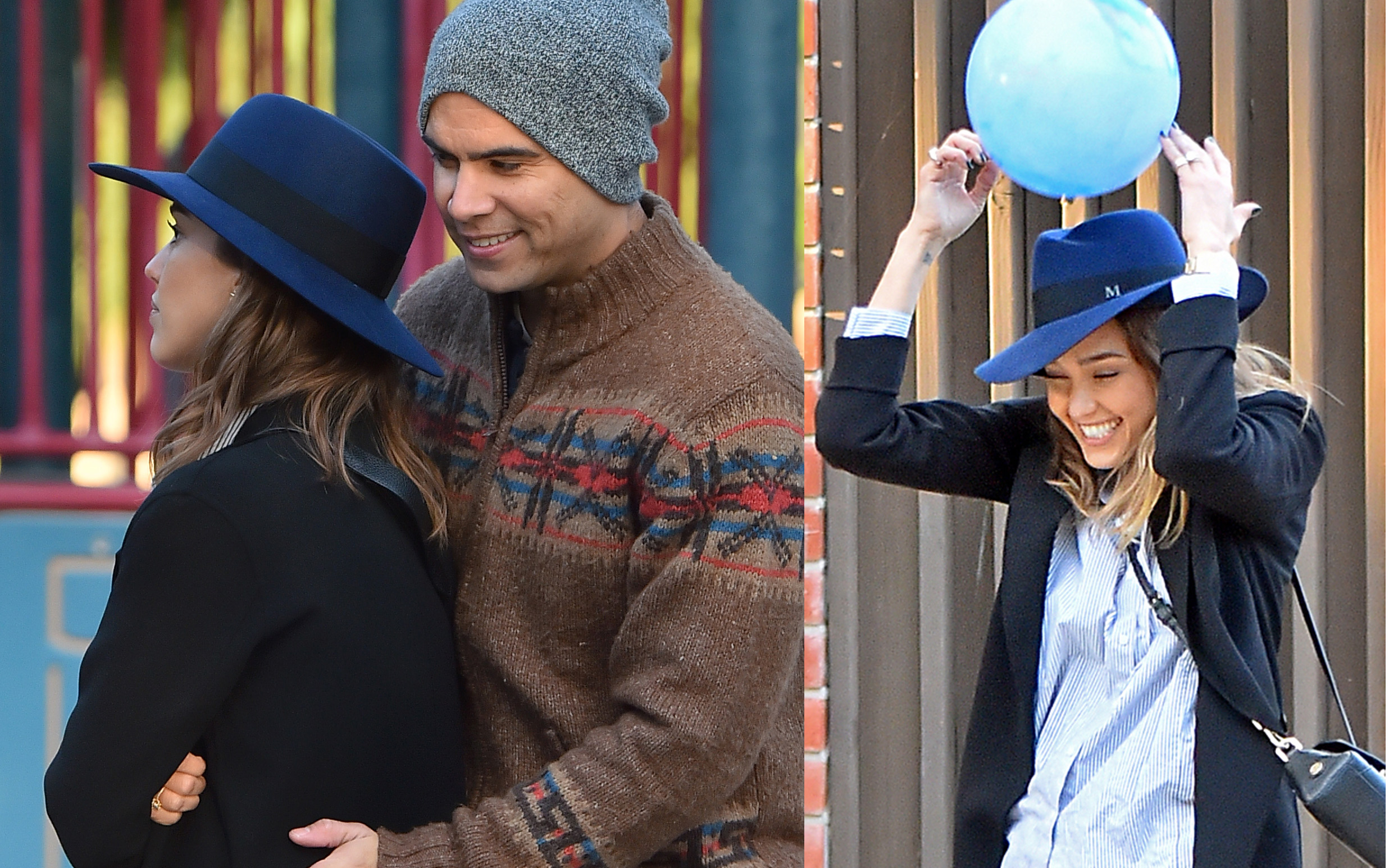 EXCLUSIVE: Jessica Alba gets bumped in the head with a ball while paying catch with her husband in Beverly Hills