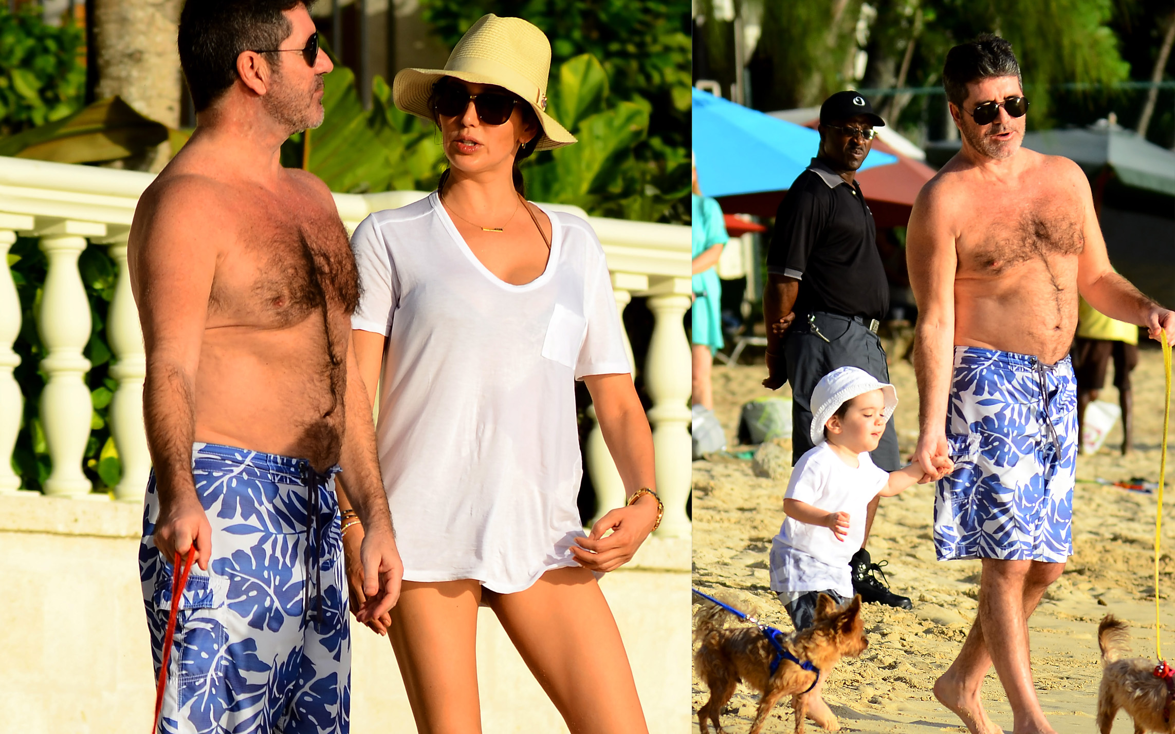 Simon Cowell and family spotted on the beach in Barbados