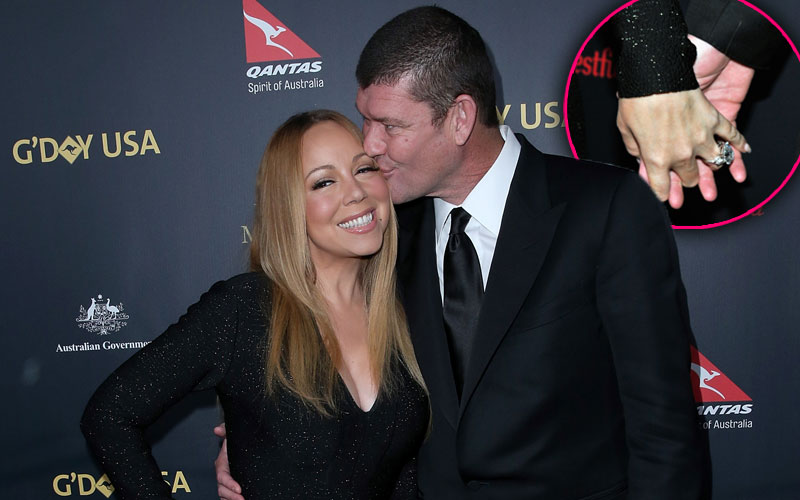 Mariah Carey James Packer Engaged Ring Red Carpet