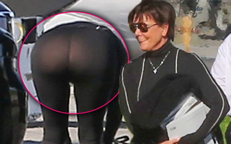 kris jenner wardrobe malfunction butt exposed leggings