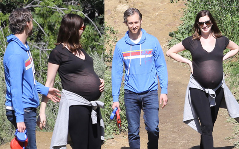 anne hathaway pregnant hike adam schulman sheer top pics