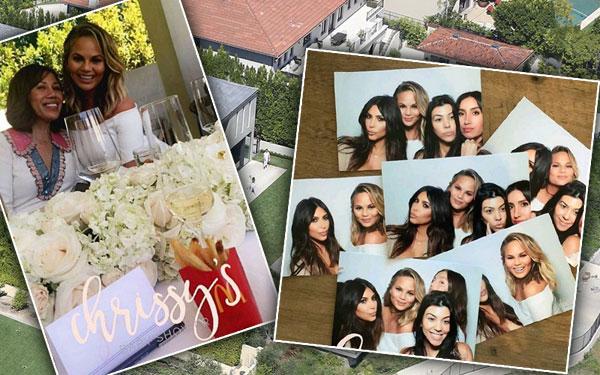 chrissy teigen baby shower guests kim kardashian kourtney kardashian khloe kardashian