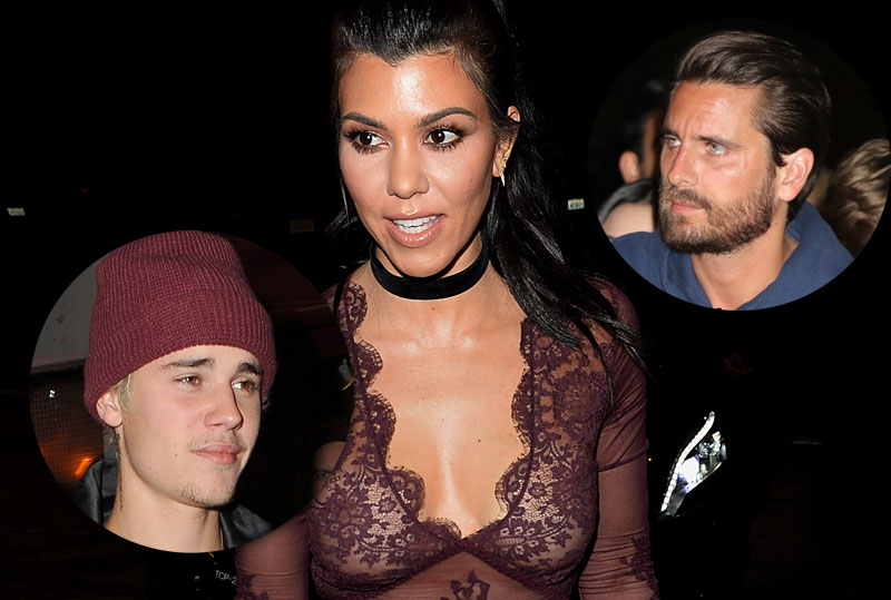 kourtney kardashian disses scott disick hangs out justin bieber