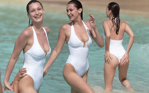 bella hadid topless nude one piece st barts pics