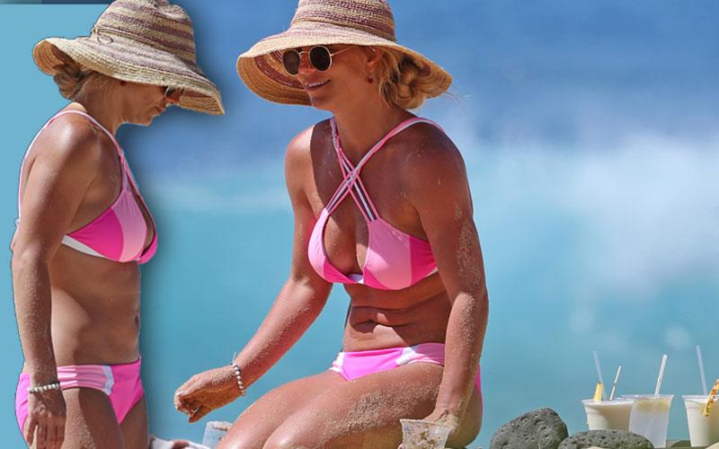 Britney Spears Bikini Abs Pink Beach Drinking Hawaii
