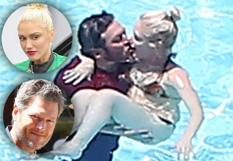 Gwen stefani blake shelton pda swimming pool 06