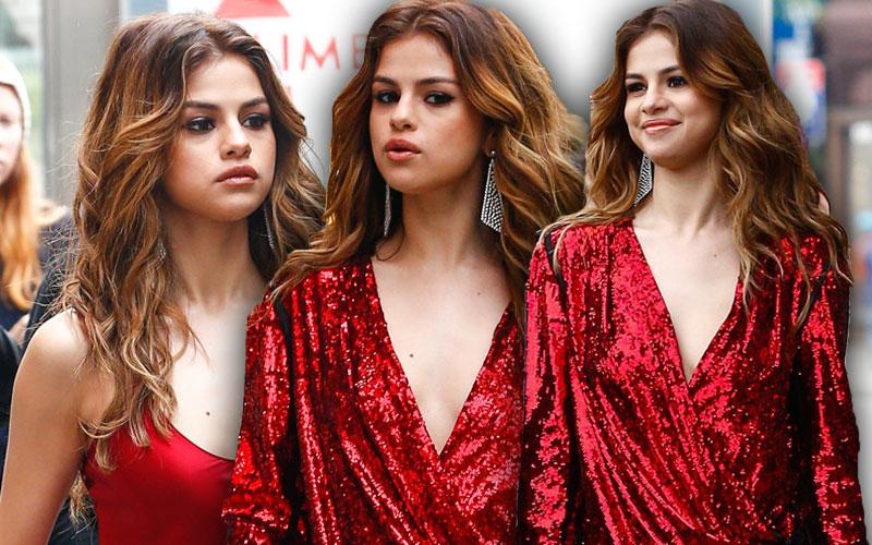 selena gomez red dress sexy jumpsuit nyc pics