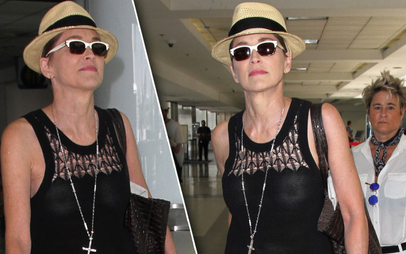 sharon stone nipples wardrobe malfunction airport pics