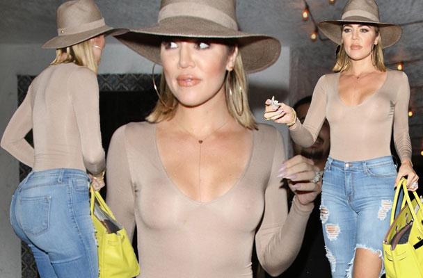Khloe Kardashian Nippes Boobs Sheer Blac Chyna Dinner KUWTK Pics 1
