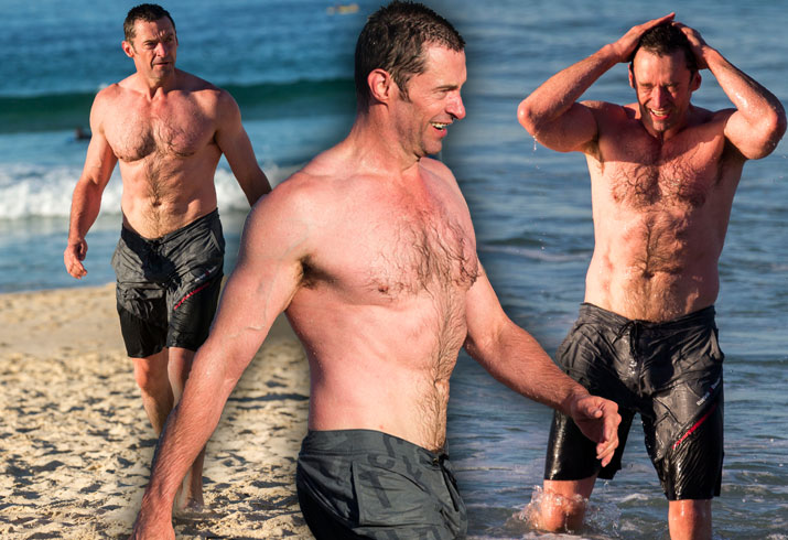 Hugh Jackman Shirtless Workout Cancer Beach Pics 3