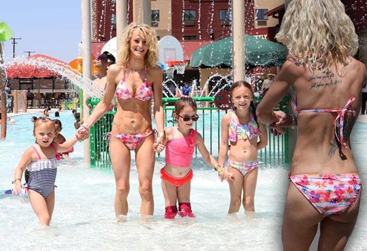 Leah Messer Skinny Weight Bikini Kids Pool Pics 6