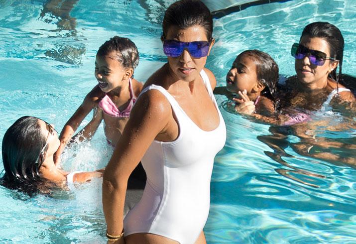 North West Kourtney Kardashian Pool Miami Pics 8