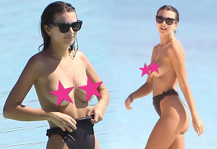 Emily ratajkowski topless breasts boobs nipples bikini mexico star