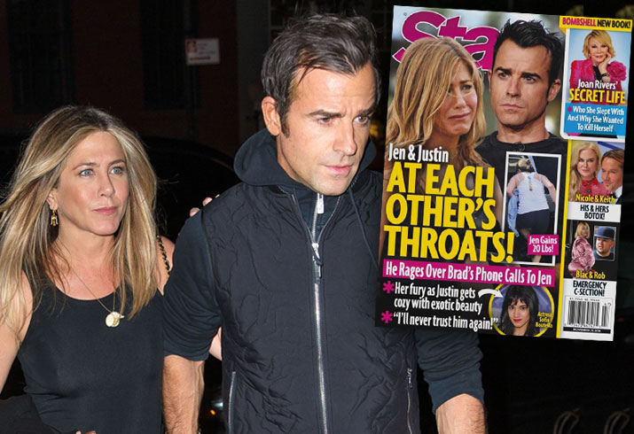 Jennifer Aniston Justin Theroux Fight Brad Pitt Call Cheating Rumors 2