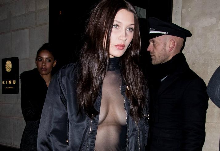 Bella hadid nipple boobs sheer shirt