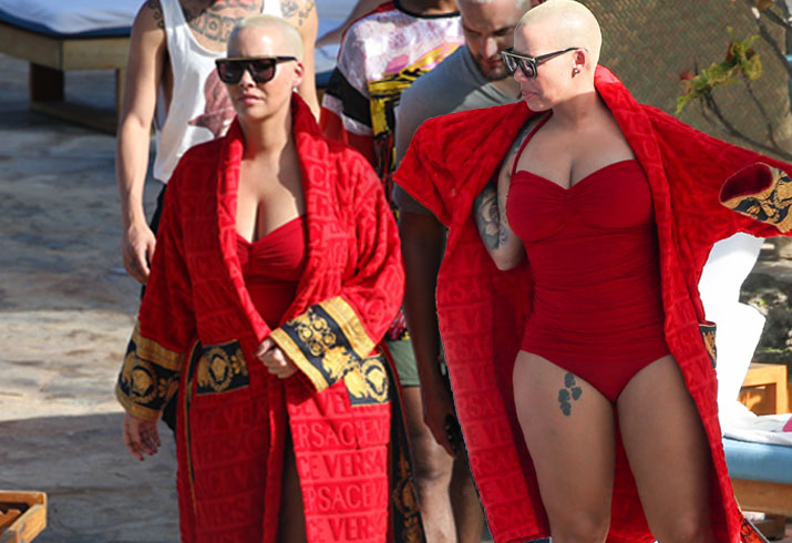 Amber Rose Red Swimsuit Plastic Surgery Rumors Pics