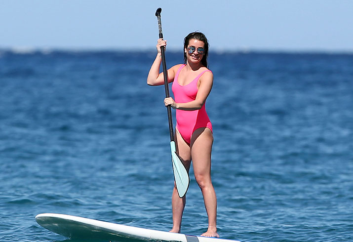 Lea michele beach body swimsuit hawaii paddleboarding