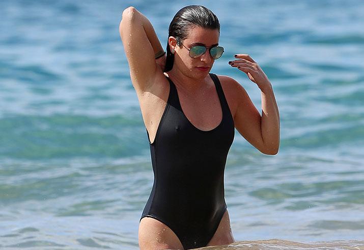 Lea michele swimsuit nipples weight maui hawaii