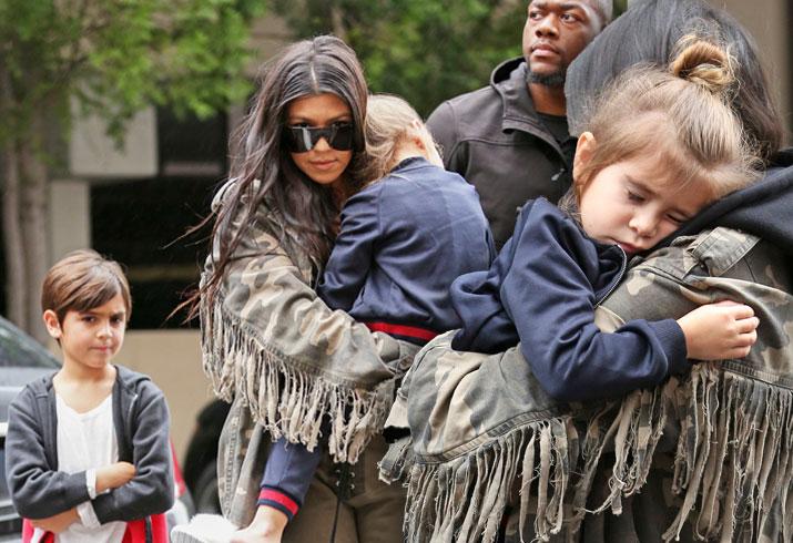 Kourtney Kardashian Back To Raising Kids Alone After