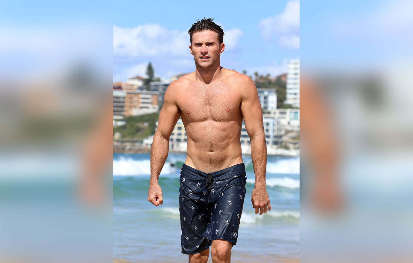 Soaking Wet Scott Eastwood Displays Ripped Beach Body At