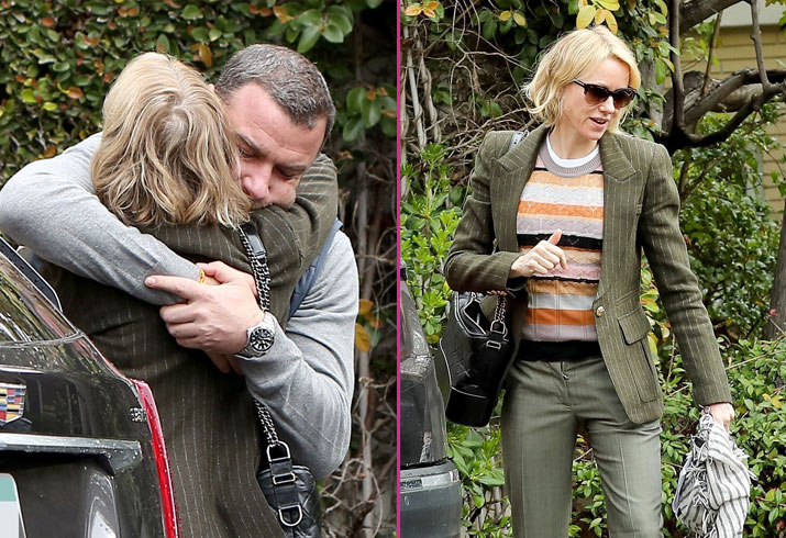 Liev schreiber naomi watts hug photos kate driver breakup before oscars