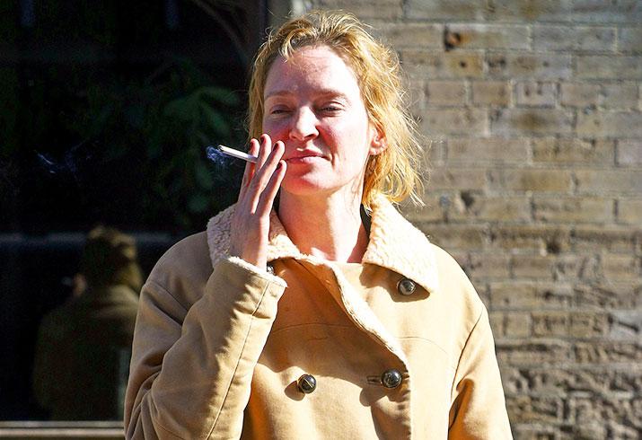 Uma thurman no makeup smoking custody battle