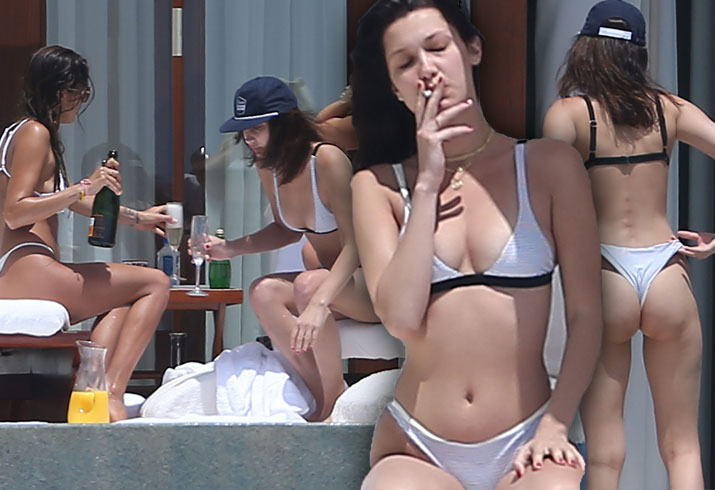 Bella Hadid Bikini Smoking Drinking Mexico Pics