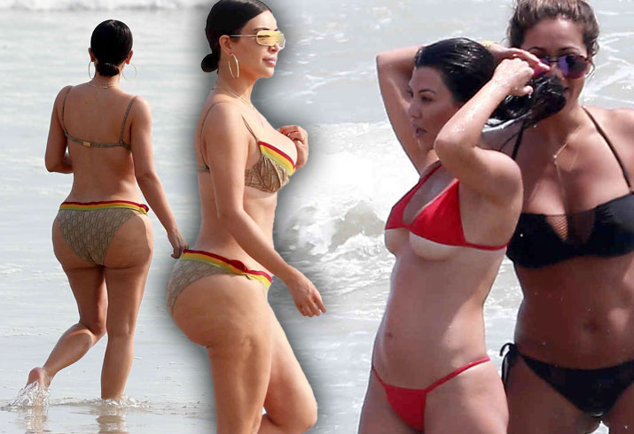 Kim Kourtney Kardashian Naked Bikini Butt Boobs Mexico Pics