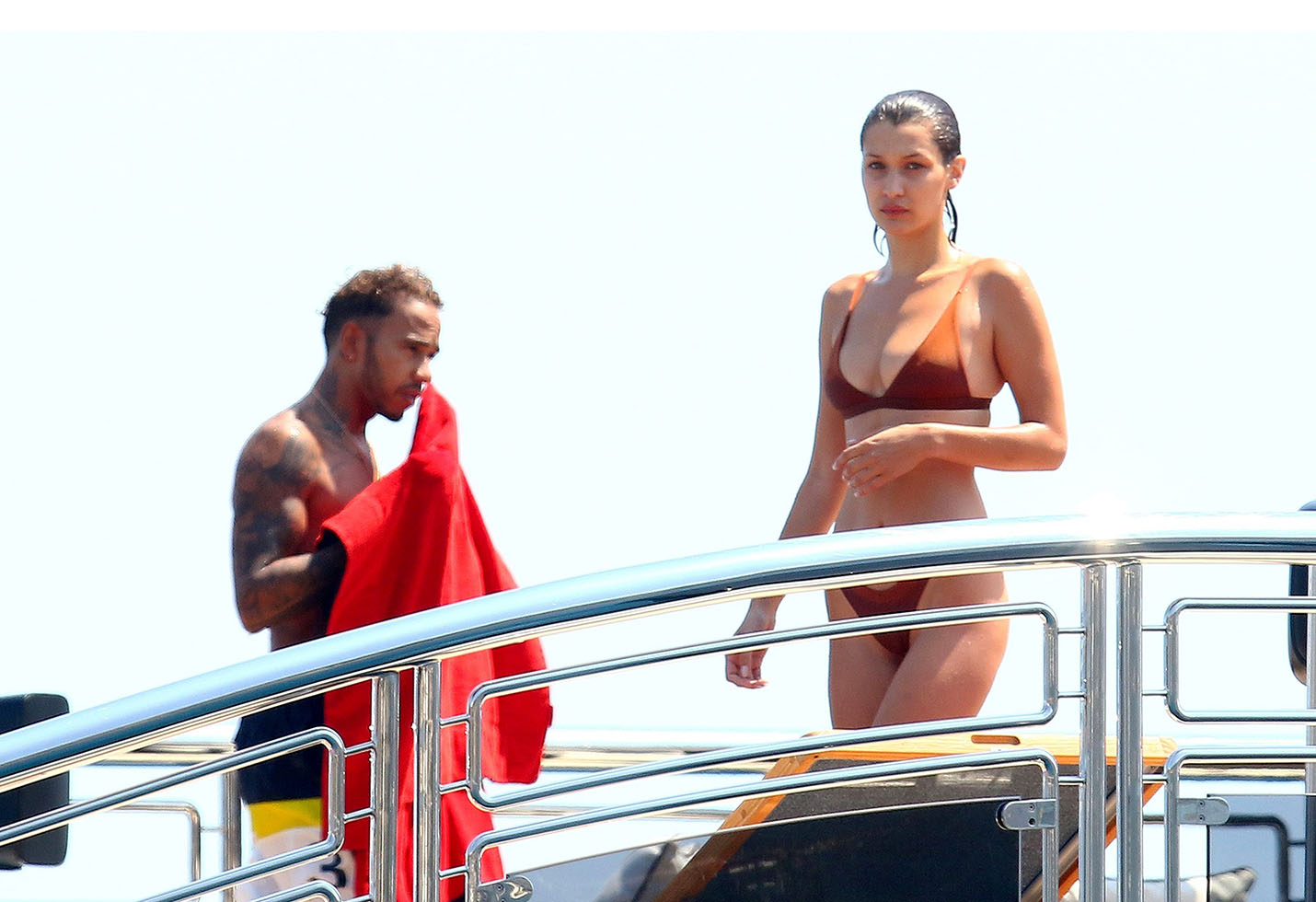 *EXCLUSIVE* Bella Hadid picks out her best thong bikini for yacht jumping with Lewis Hamilton