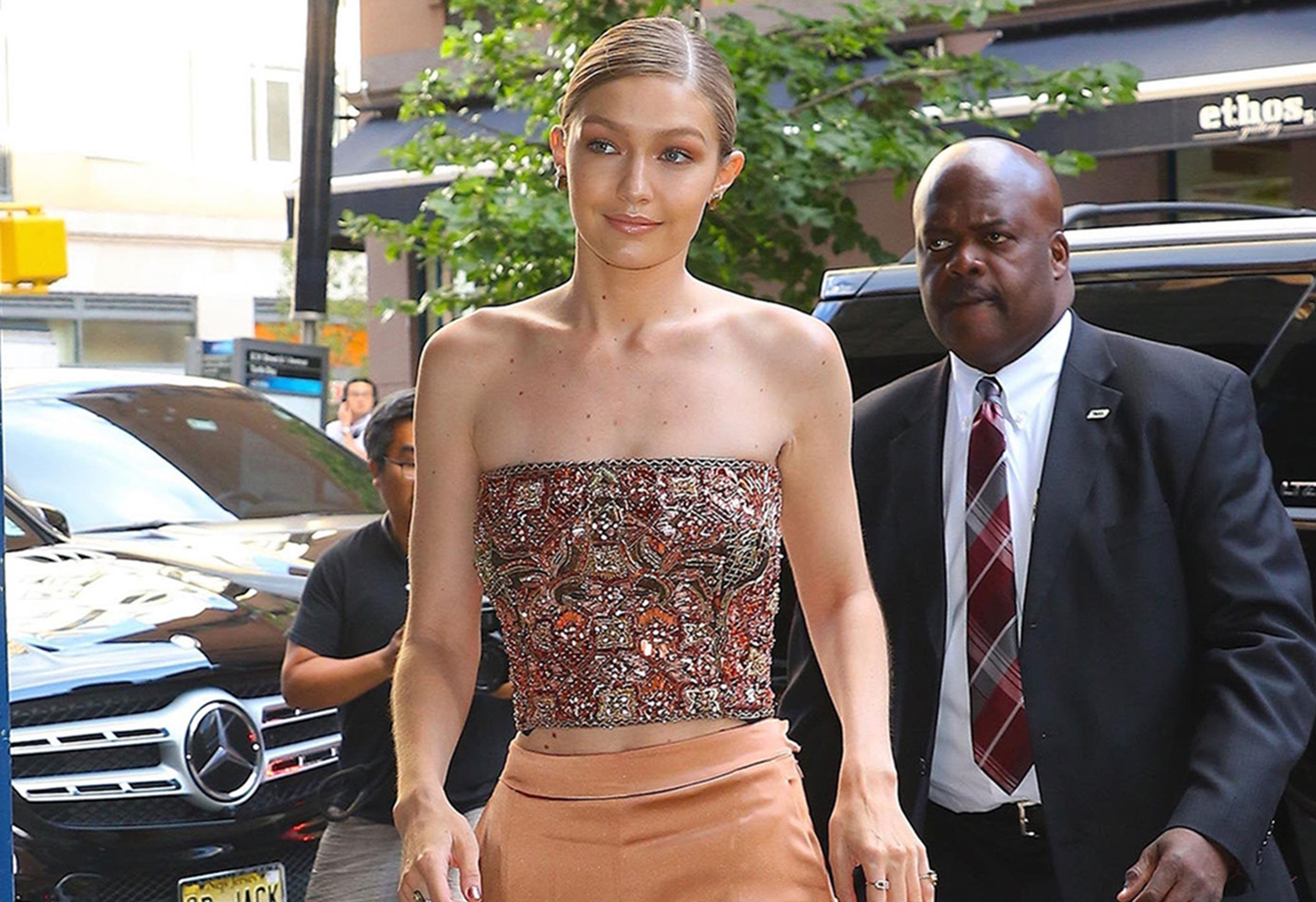 Gigi Hadid attends a cocktail event honoring Anna Wintour
