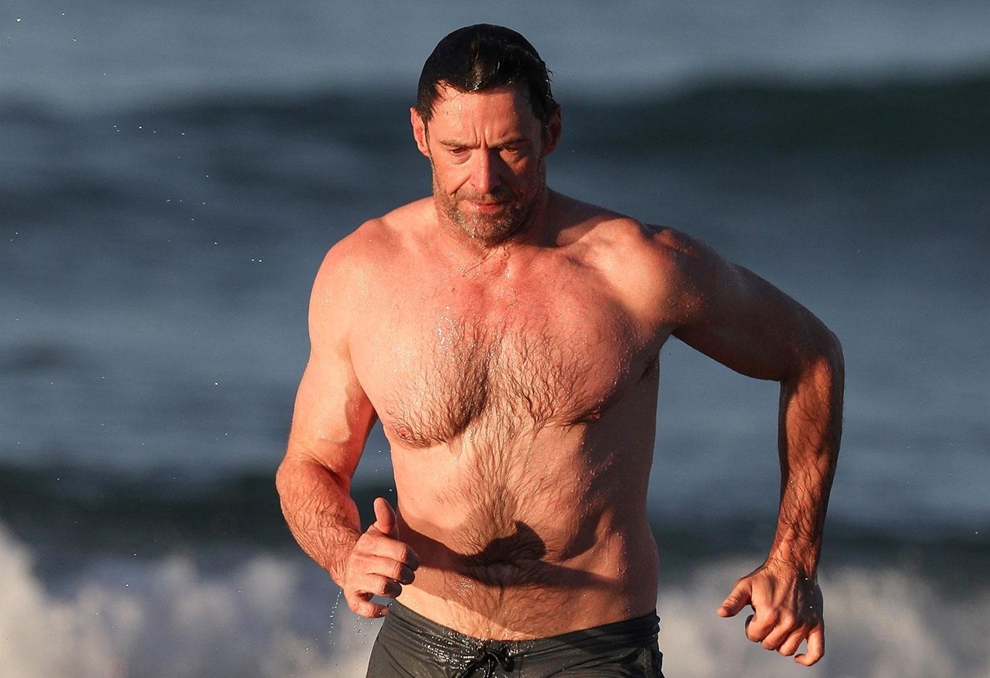 Hugh jackman shirtless abs beach body