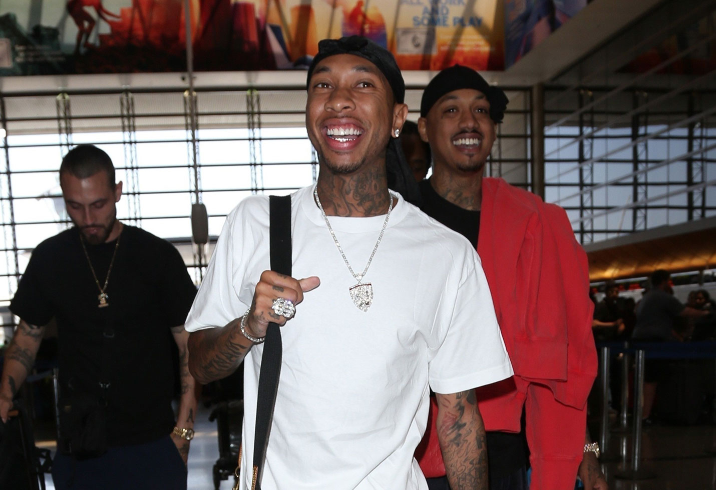 Tyga spotted airport ex blac chyna revenge porn scandal