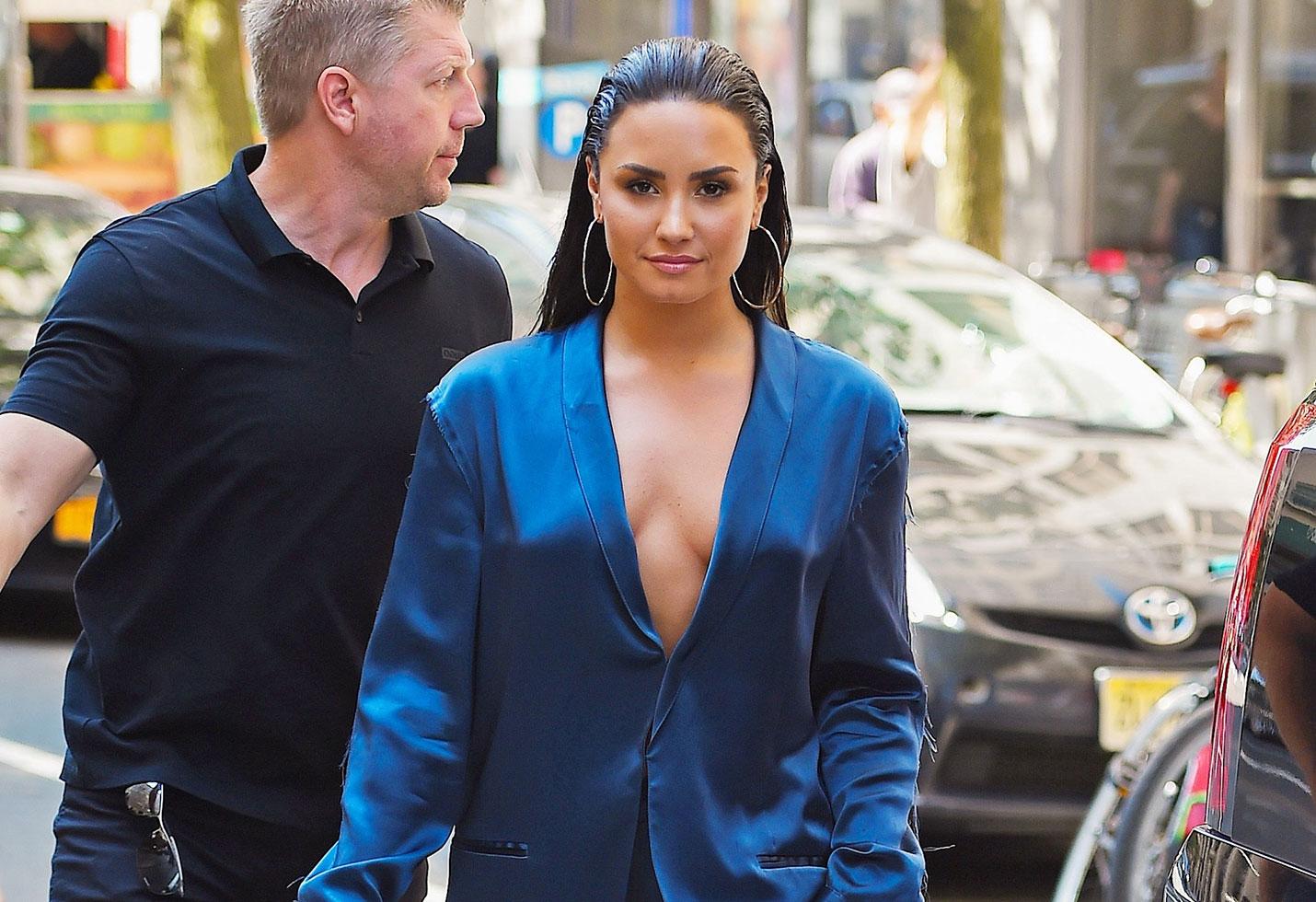 Demi lovato low cut blazer breast exposed