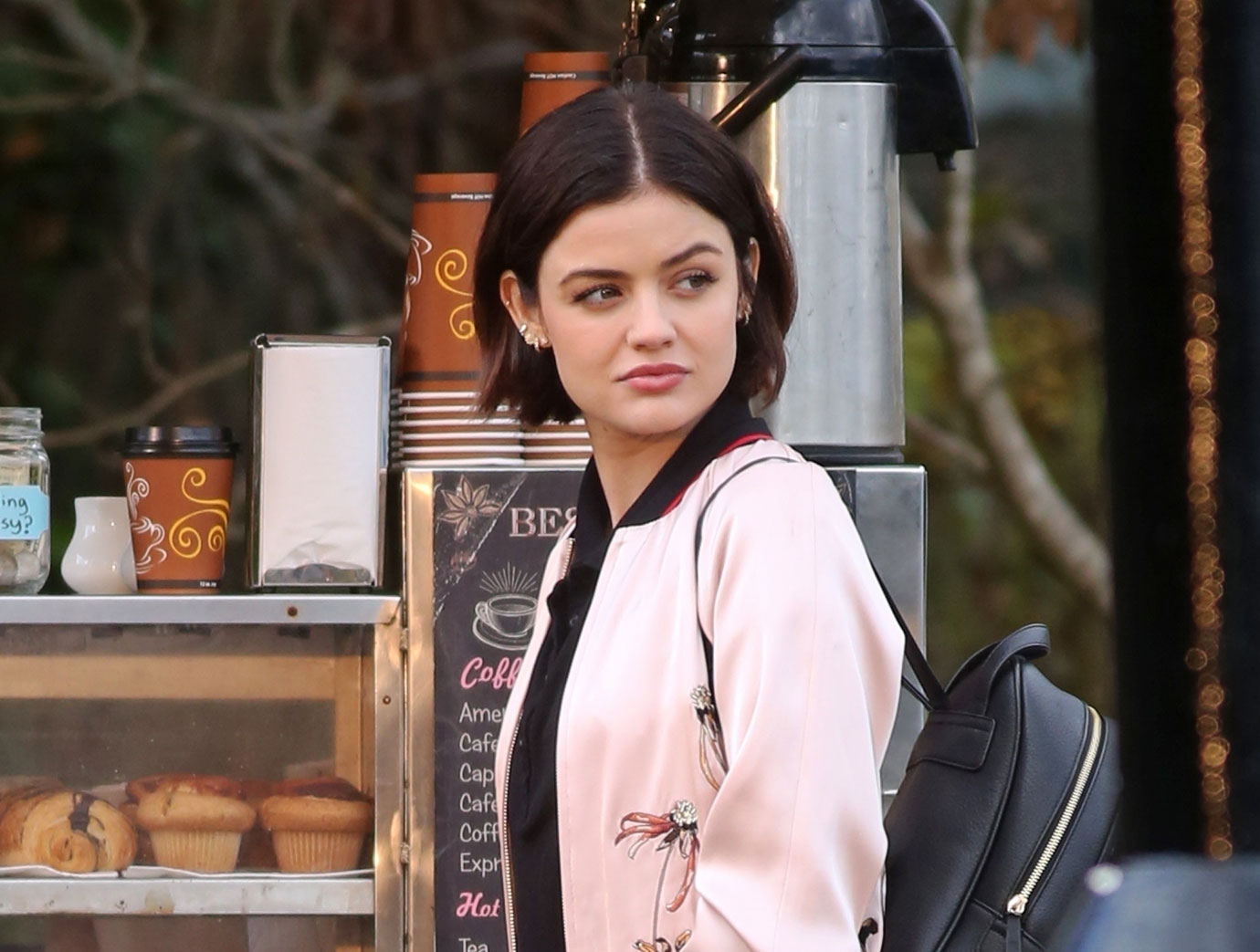 *EXCLUSIVE* Lucy Hale keeps it cute onset of 'Life Sentence'