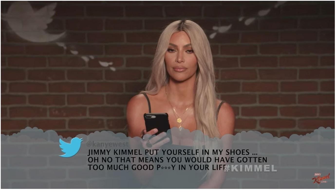 Kim kardashian reads kanye wests mean tweet jimmy kimmel birthday 2