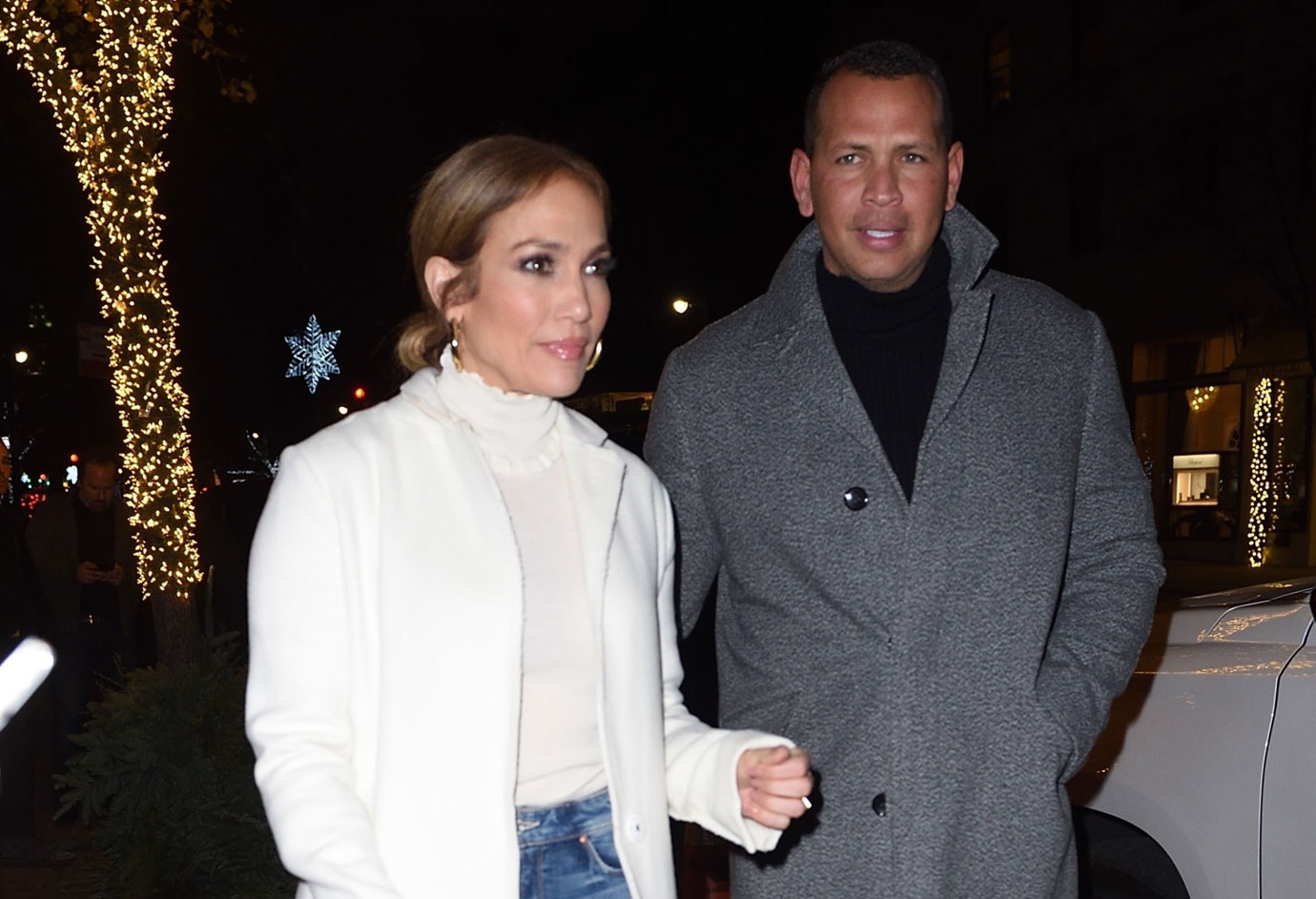 Jennifer Lopez and Alex Rodriguez leaving dinner at Nellos Restaurant