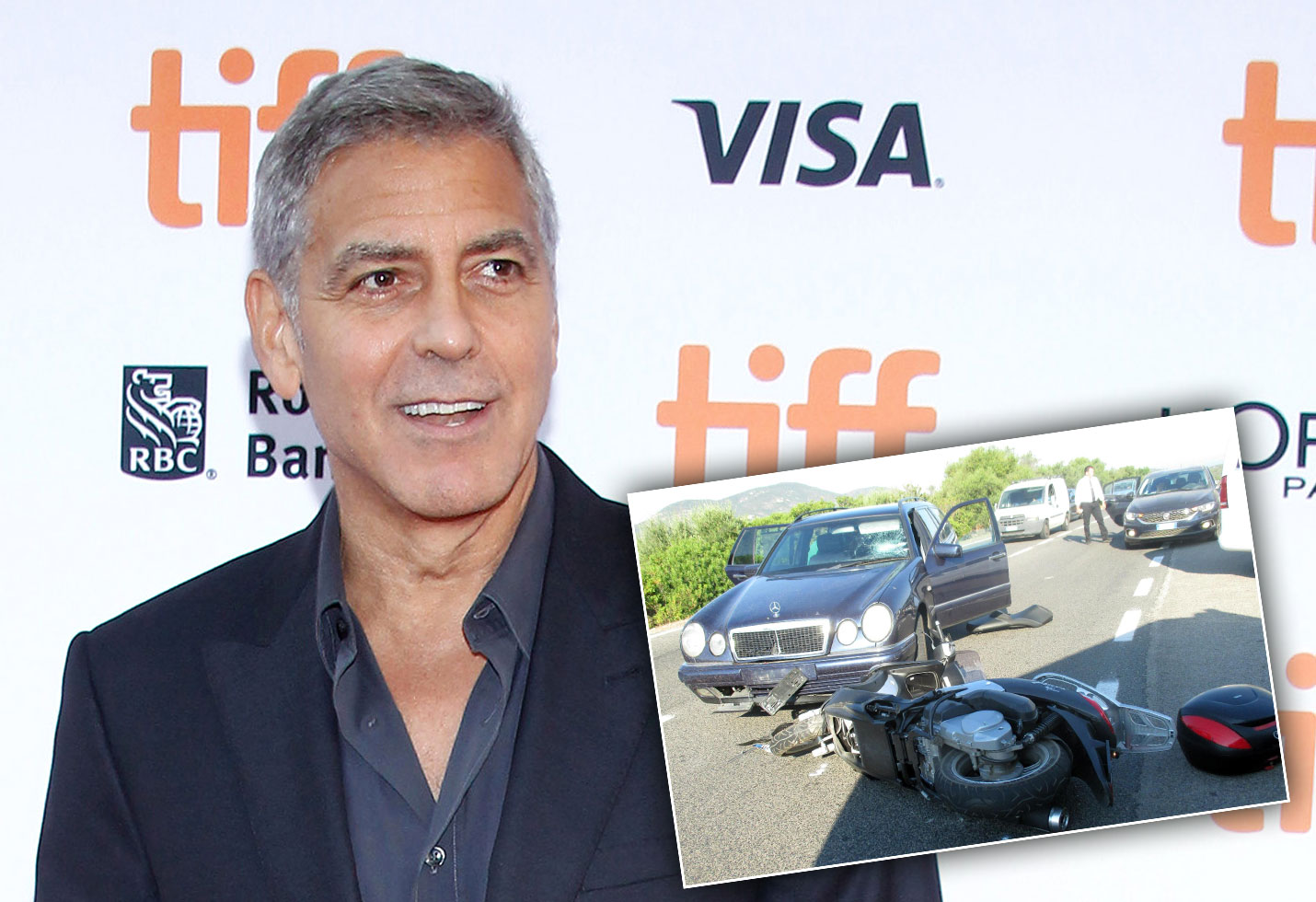 George Clooney Motorcycle Accident Photos