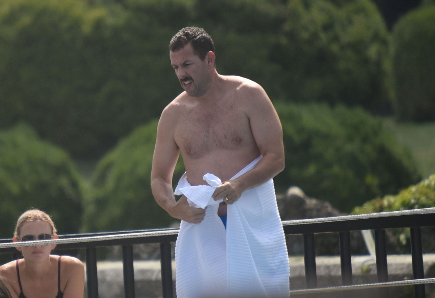 Shirtless Adam Sandler Goes Swimming With Kids During Lunch