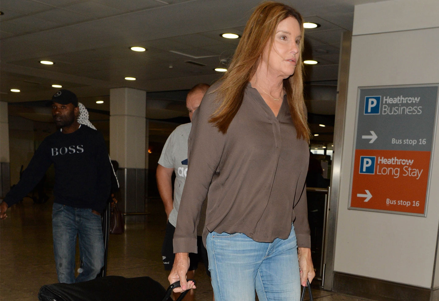 Caitlyn Jenner Airport Jeans Britain