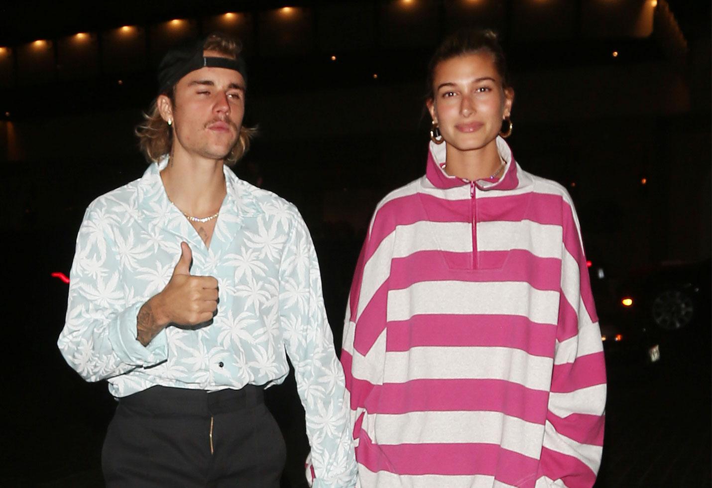 Justin Bieber mustache Hailey Baldwin church dinner streetwear