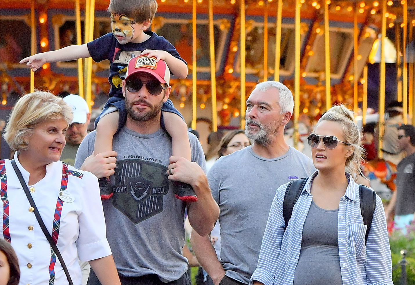 Pregnant Carrie Underwood Rocks Baby Bump With Son At Disneyland