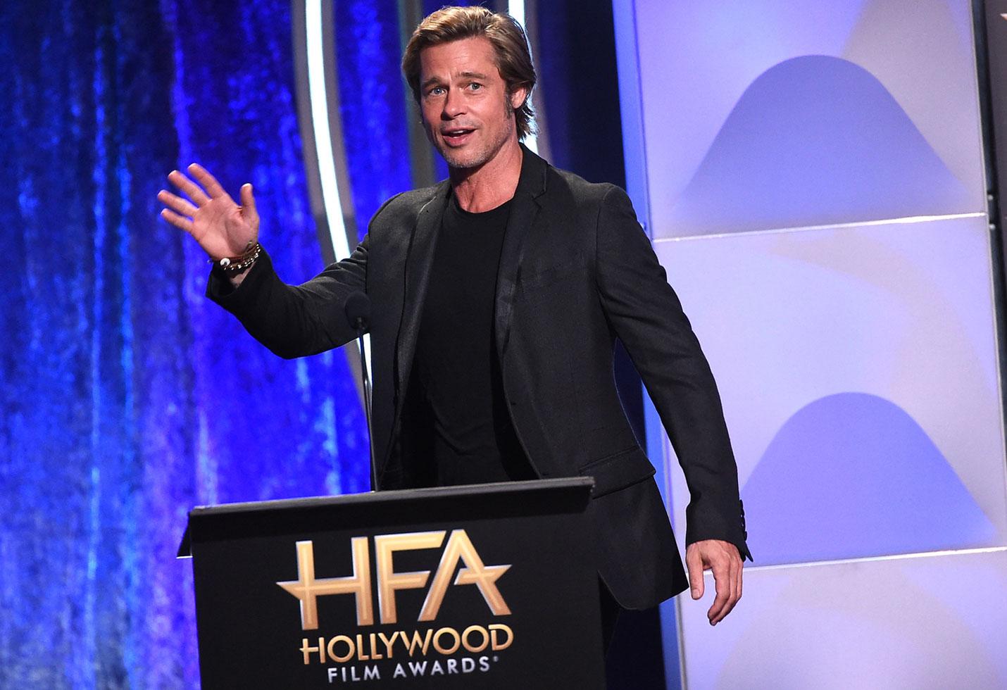 Brad Pitt Long Hair Hollywood Film Awards Angelina Jolie Divorce Kids Custody